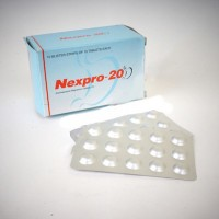 Box and blister strip of generic Esomeprazole Magnesium 20mg tablets