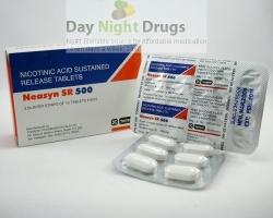 Box and a two strips of generic Niacin (nicotinic acid) 500mg SR tablet