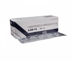 Box and blister strip of generic Lansoprazole 15mg capsule