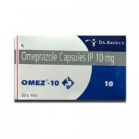 Box of generic Omeprazole 10mg capsule