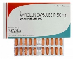 Box and blister strip of generic ampicillin 500mg capsules