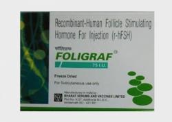 A box of generic Recombinant Human follicle stimulating hormone 75IU Injection (R-HFSH)