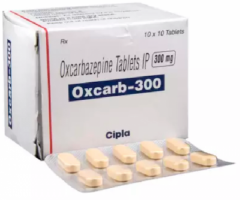 Box and a blister of Generic Trileptal 300 mg Tab - Oxcarbazepine