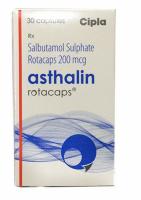 Box pack of generic Asthalin 200mcg Rotacaps with Rotahaler