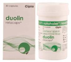 Box pack and a bottle of generic Levalbuterol (100mcg) + Ipratropium (40mcg) Rotacaps with Rotahaler