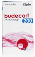 Box pack of generic Budesonide 200mcg Rotacaps with Rotahaler
