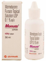 A box and a bottle of Generic Elocon 0.1 % Lotion 30ml - Mometasone