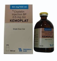 Box and a bottle of generic Cisplatin 50 mg / 50 ml Infusion