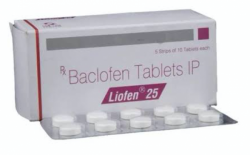Box and a strip of generic Baclofen 25mg Tab