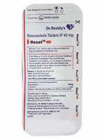 A strip of generic Rosuvastatin Calcium 40mg tablets