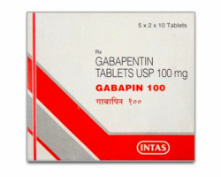 Box pack of generic Gabapentin 100mg capsule