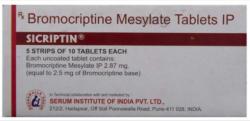 A box of generic Bromocriptine 2.5mg Tab