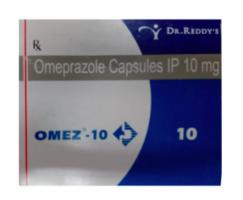 A box of generic Omeprazole 10mg capsule