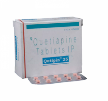 Box and blister strip of generic Quetiapine Fumarate 25mg tablets