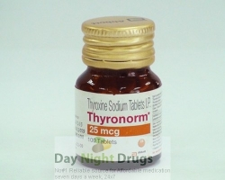 Bottle of generic Levoxyl  25mcg Tablets - levothyroxine sodium