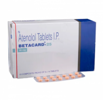 Box and blister strip of generic Atenolol 25mg tablets