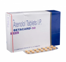 Box and blister strip of generic Atenolol 50mg tablets