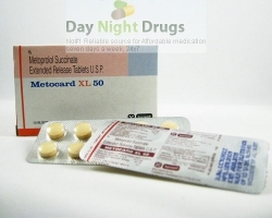 Box and few strips of generic Toprol XL 50mg  Tablets - Metoprolol Succinate