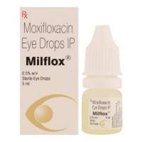 Box and bottle of generic Moxifloxacin 0.5% 5 ml Eye Drops Bottle