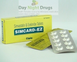 Box pack and a few strips of generic Ezetimibe and Simvastatin 10mg/10mg tablets