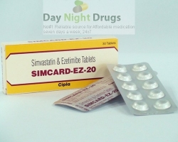 Box pack and few strips of generic Ezetimibe and Simvastatin 10mg/20mg tablets