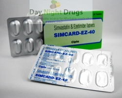 Two strips and a box of generic Ezetimibe and Simvastatin 10mg/40mg tablets