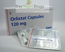 A box and two blisters of generic Xenical 120mg Capsules - Orlistat
