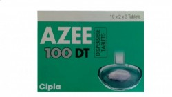 Green box of generic azithromycin  100mg tablet