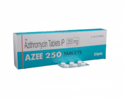 Box and blister strip of generic azithromycin  250mg tablet